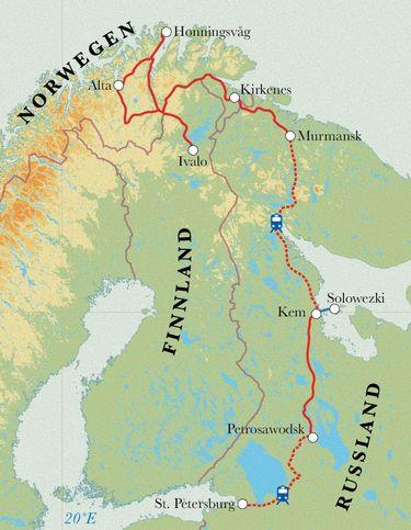Route Rundreise Russland, Norwegen & Finnland, 14 Tage