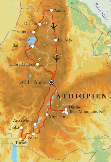 Route Rundreise Äthiopien, 24 Tage