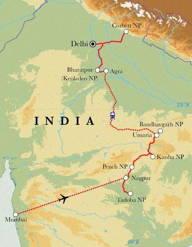 Route Safarireise Indien, 18 Tage