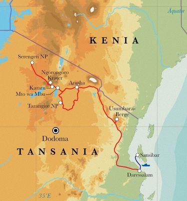 Route Rundreise Tansania & Sansibar, 15 Tage Lodge- & Zeltsafari