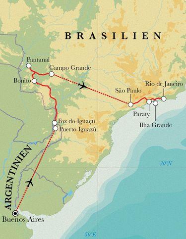 Route Rundreise Argentinien & Brasilien 21 Tage