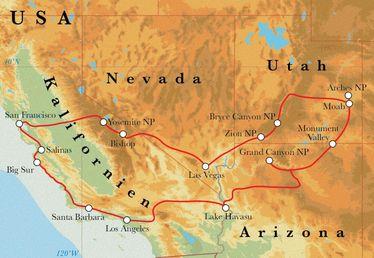 Route Rundreise USA - der Westen, 22 Tage Zelt- und Hotelreise