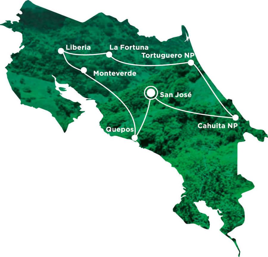 Routekaart Rundreise Costa Rica mit Kindern, 14 Tage
