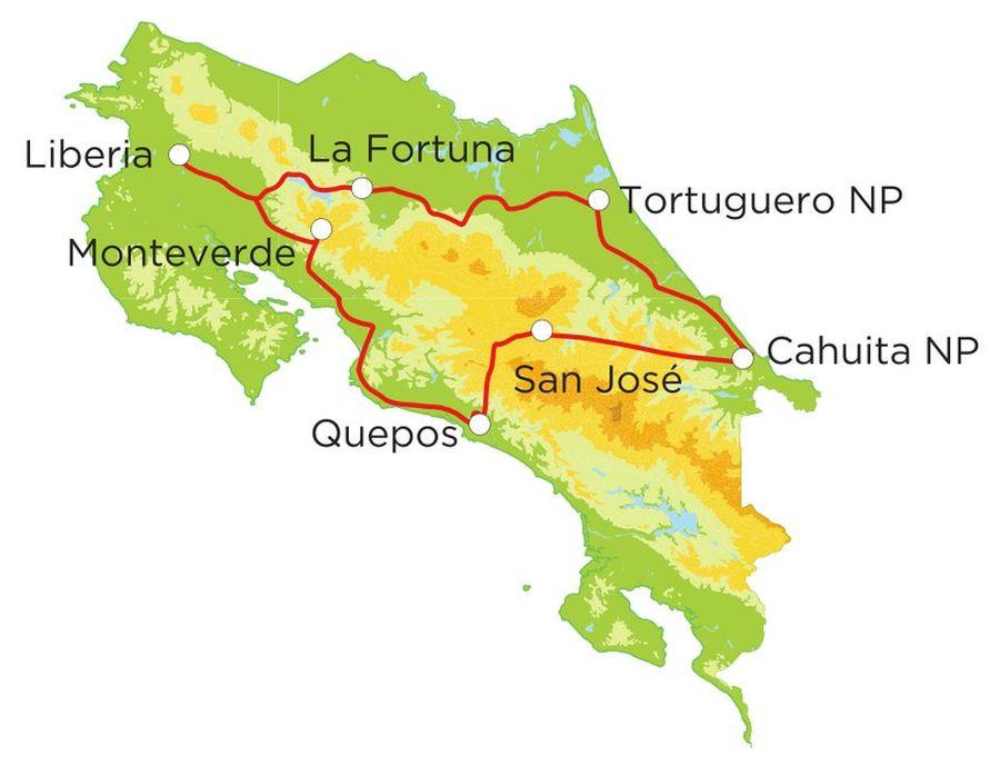 Routekaart Rundreise Costa Rica mit Kindern, 20 Tage