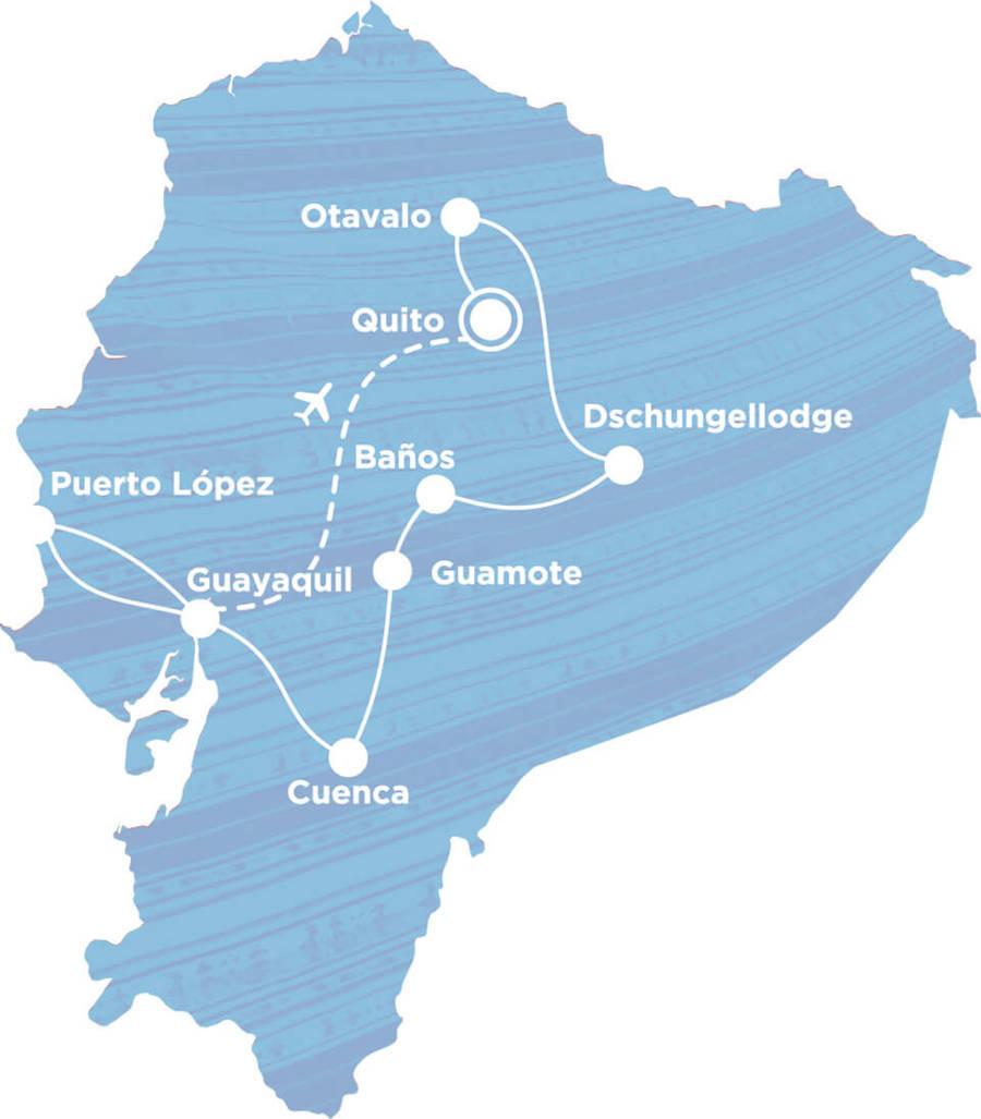 Routekaart Rundreise Ecuador mit Kindern, 21 Tage