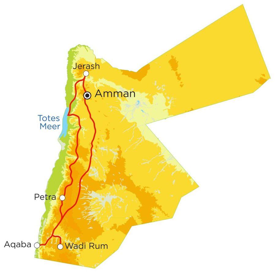 Routekaart Rundreise Jordanien mit Kindern, 9 Tage
