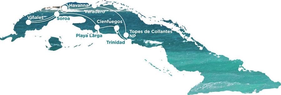 Routekaart Rundreise Kuba mit Kindern, 20 Tage