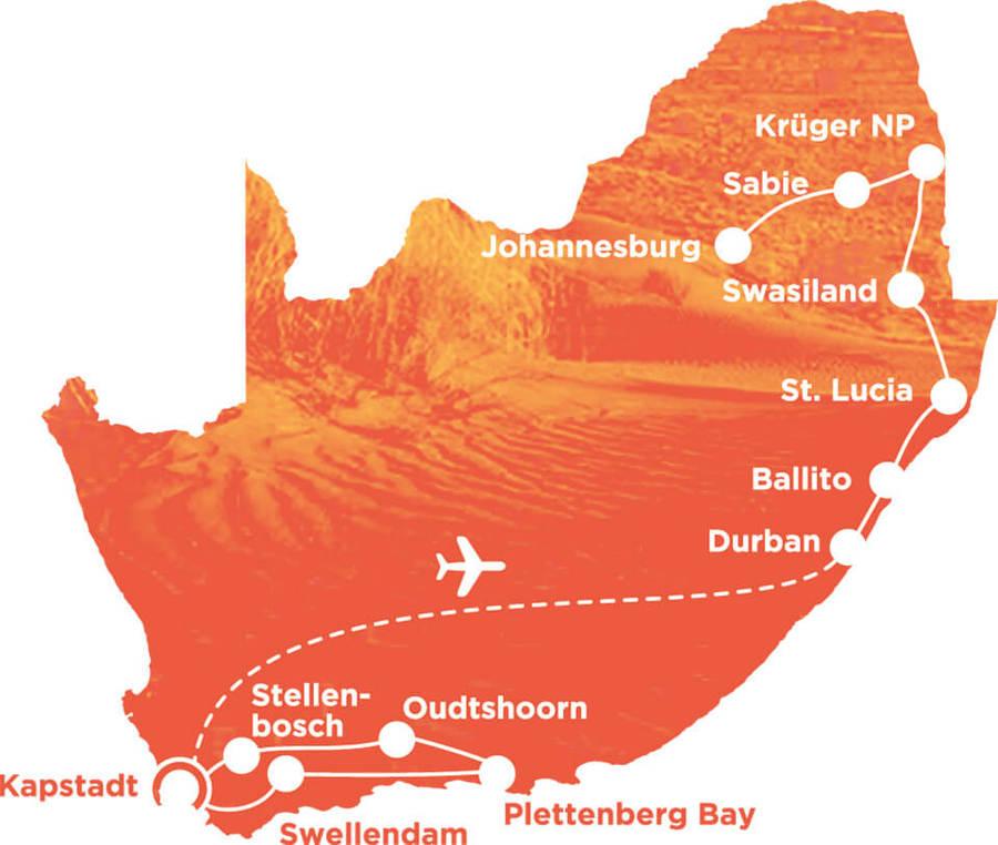 Routekaart Rundreise Südafrika mit Kindern, 15 Tage