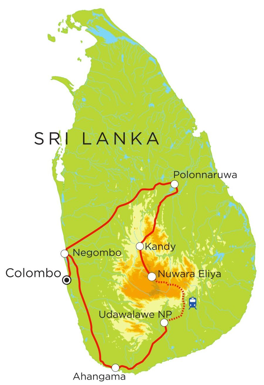 Routekaart Rundreise Sri Lanka mit Kindern, 15 Tage