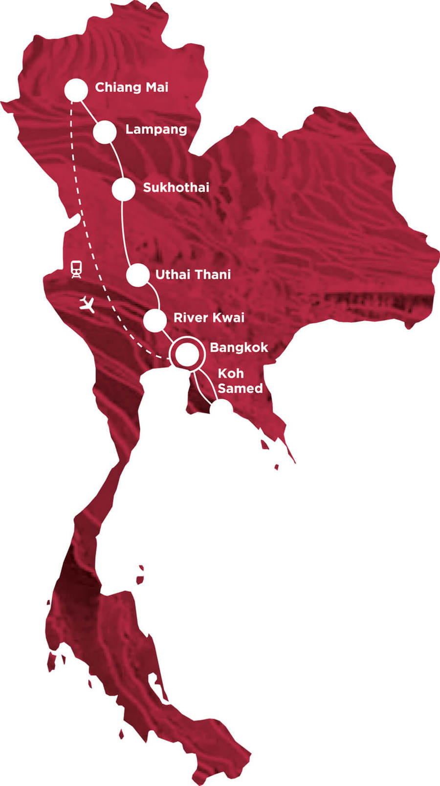 Routekaart Rundreise Thailand mit Kindern, 21 Tage