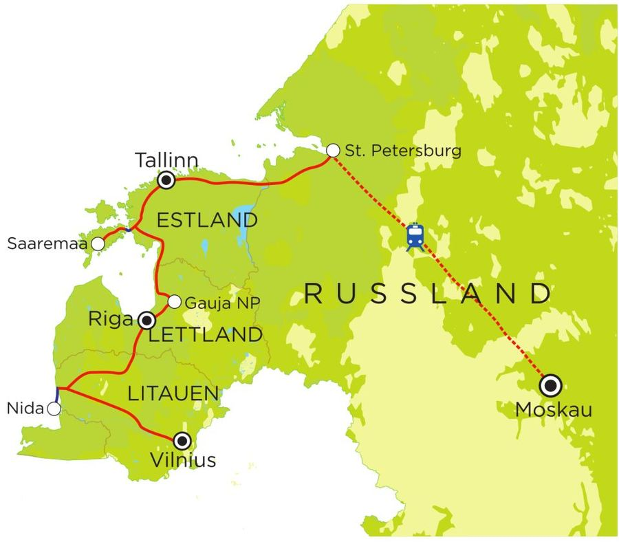 Routekaart Rundreise Baltikum & Russland mit Kindern, 20 Tage