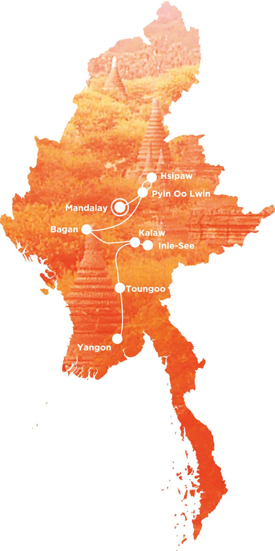 Routekaart Rundreise Myanmar mit Kindern, 21 Tage