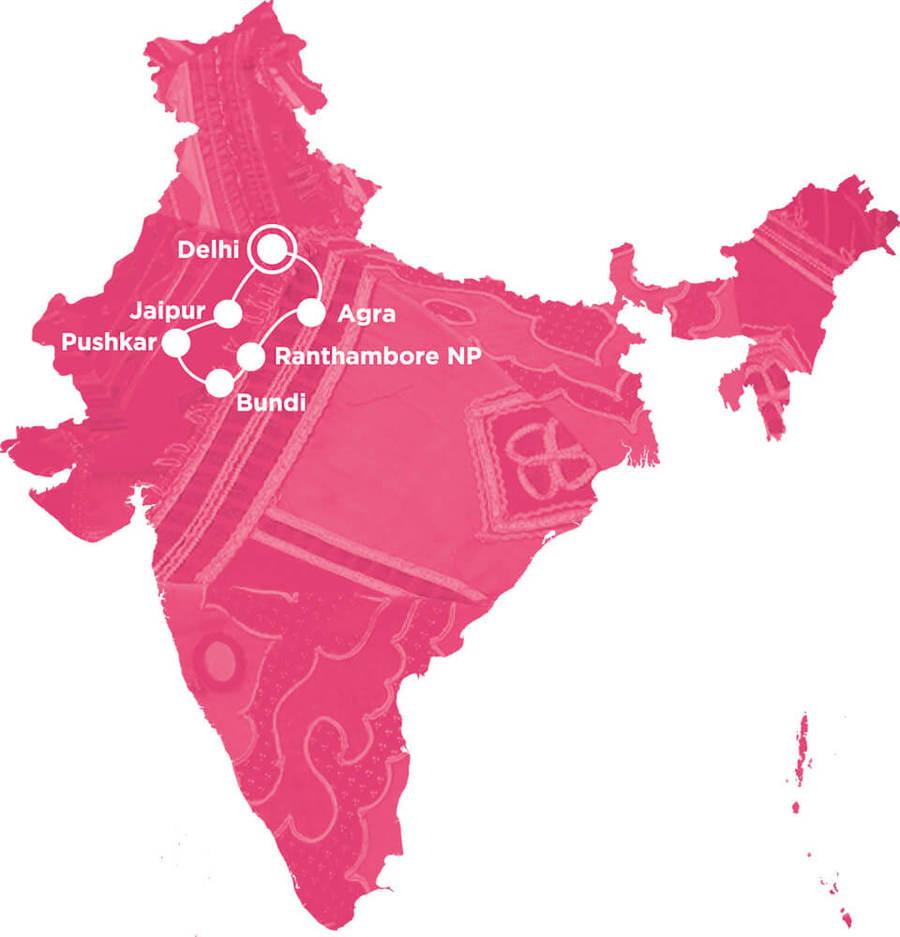 Routekaart Rundreise Rajasthan mit Kindern, 14 Tage