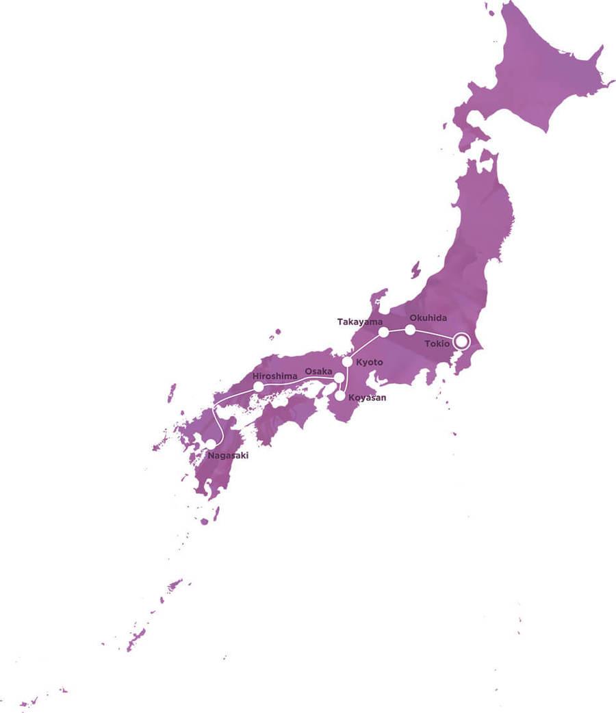 Routekaart Rundreise Japan mit Kindern, 21 Tage