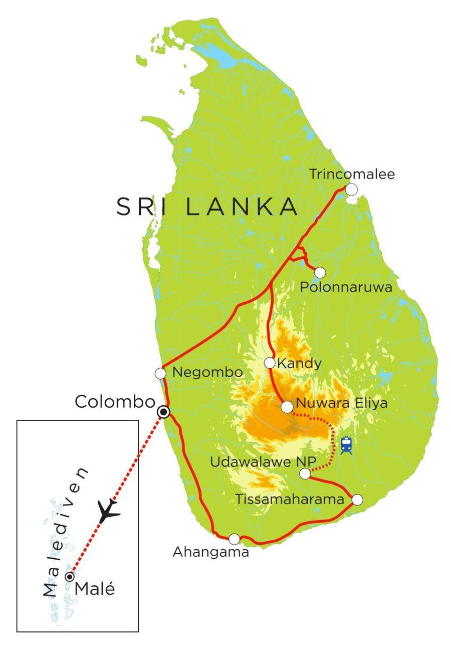 Routekaart Rundreise Sri Lanka & Malediven mit Kindern, 21 Tage
