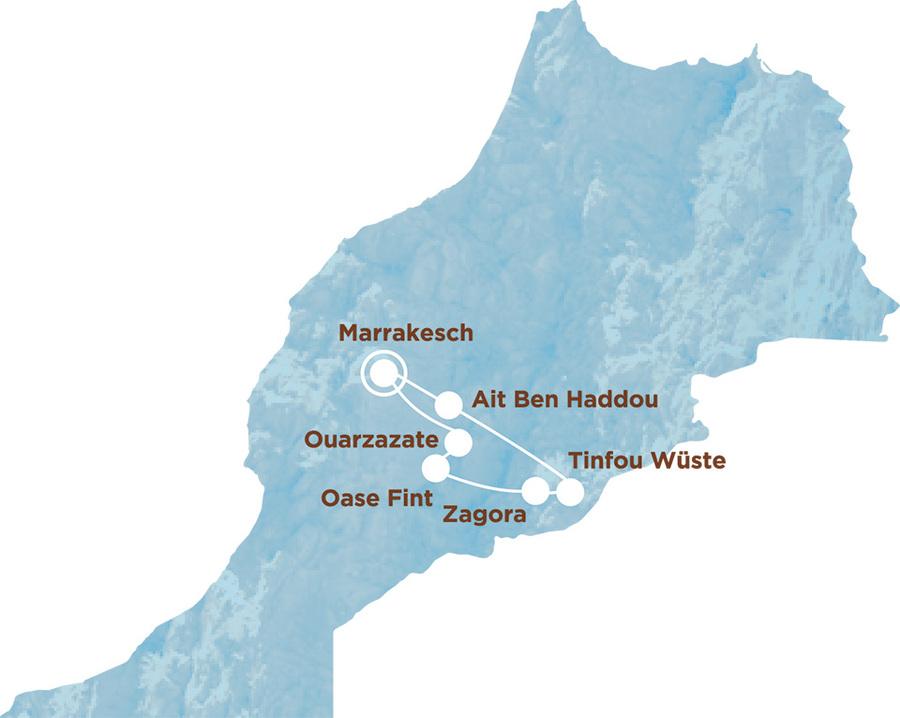 Routekaart Rundreise Marokko mit Kindern, 8 Tage