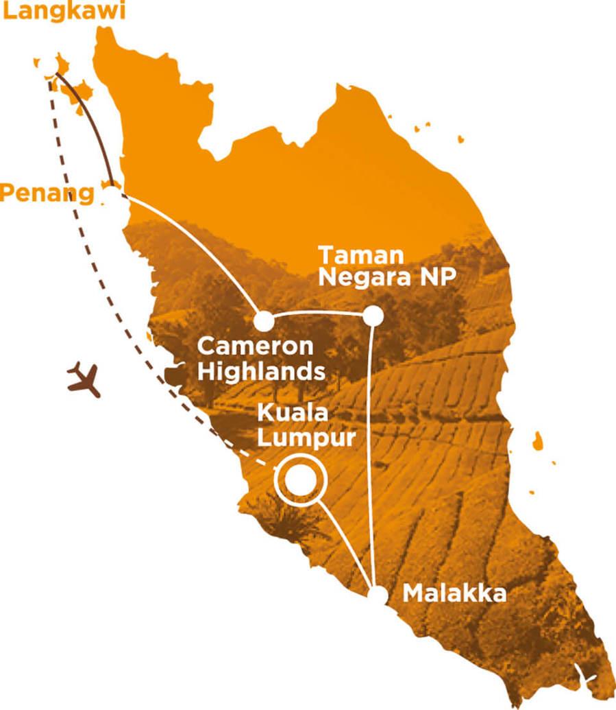 Routekaart Rundreise Malaysia mit Kindern, 19 Tage