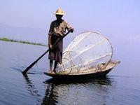 Myanmar Inle See Einbeinruderer